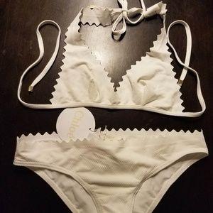 CHLOE Mare white Scallop Edge Triangle Bikini XS